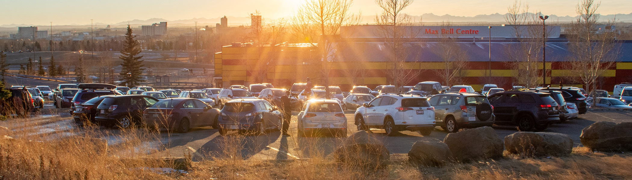Cars at the Luminous Voices drive-in performance at the Max Bell Centre