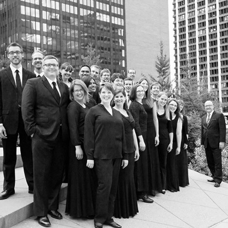 A black and white photo of Luminous Voices before COVID-19