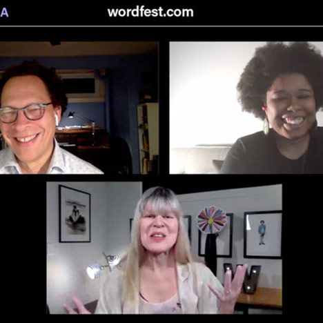 A screenshot of a Wordfest 25@25 live-stream